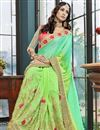 photo of Sea Green Function Wear Georgette Embroidered Half And Half Saree