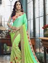 image of Sea Green Function Wear Georgette Embroidered Half And Half Saree