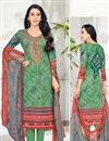 image of Karishma Kapoor Casual Wear Printed Cotton Fabric Suit In Green