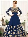 image of Festive Special Navy Blue Georgette Occasion Wear Anarkali Suit With Embroidery Work