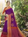 image of Purple Color Art Silk Party Wear Saree With Weaving Work