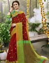 image of Occasion Wear Maroon Weaving Work On Art Silk Saree With Border