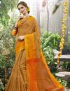 image of Weaving Designs On Cream Art Silk Party Wear Saree With Blouse
