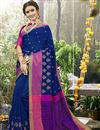 image of Art Silk Navy Blue Designer Saree With Weaving Work And Heavy Border