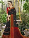 image of Weaving Designs On Black Art Silk Function Wear Saree