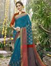image of Weaving Designs On Art Silk Sky Blue Party Wear Saree With Blouse