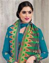 photo of Soothing Banarasi Silk Teal Festive Wear Saree With Weaving Work