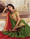 image of Art Silk Wedding Wear Saree With Beautiful Blouse In Dark Green