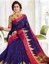 image of Blue Cotton Fabric  Sangeet Wear Saree With Weaving Work