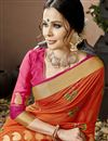 photo of Cotton Silk Orange Occasion Wear Saree With Embroidery Work And Artistic Blouse