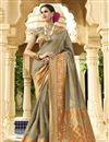 image of Wedding Wear Traditional Art Silk Fabric Fancy Saree In Dark Beige