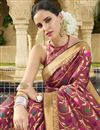 photo of Burgundy Color Wedding Wear Traditional Saree In Art Silk Fabric