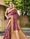 image of Burgundy Color Wedding Wear Traditional Saree In Art Silk Fabric