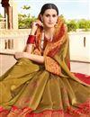 photo of Wedding Wear Traditional Cream Fancy Saree In Art Silk Fabric