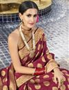photo of Function Wear Fancy Maroon Traditional Saree In Art Silk Fabric