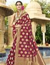image of Function Wear Fancy Maroon Traditional Saree In Art Silk Fabric
