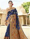image of Designer Navy Blue Function Wear Saree In Art Silk Fabric