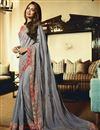 image of Esha Gupta Grey Festive Wear Georgette Saree With Embroidery Work