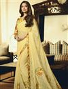 image of Esha Gupta Party Wear Embroidered Yellow Saree In Chiffon