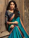 photo of Festive Special Sky Blue Art Silk Party Wear Saree With Embroidery And Designer Blouse