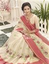 photo of Embroidery Work On Beige Cotton Silk Function Wear Saree