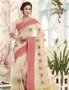 image of Embroidery Work On Beige Cotton Silk Function Wear Saree