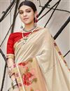 photo of Cream Georgette Occasion Wear Saree With Print Work