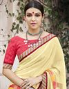 photo of Printed Beige Georgette Attractive Saree With Blouse