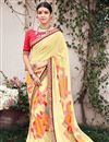 image of Printed Beige Georgette Attractive Saree With Blouse