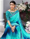 photo of Printed Aqua Color Georgette Attractive Saree With Blouse