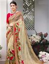 image of Printed Designs On Georgette Chikoo Color Party Wear Saree