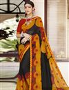 image of Georgette Black Classic Designer Saree With Printed Work