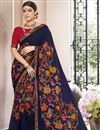 image of Print Designs On Navy Blue Occasion Wear Saree In Georgette