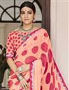 photo of Georgette Salmon Color Party Wear Saree With Print Work