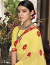 photo of Classic Print Work On Function Wear Saree In Yellow Georgette