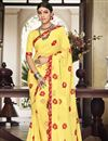 image of Classic Print Work On Function Wear Saree In Yellow Georgette