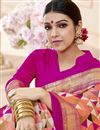 photo of Salmon Color Print Designs On Art Silk Occasion Wear Beatific Saree
