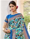 photo of Beguiling Print Work On Cyan Art Silk Festive Wear Saree