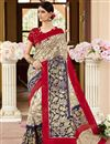 image of Incredible Print Work On Art Silk Cream Party Wear Saree