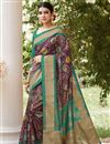 image of Classic Print Designs On Burgundy Color Occasion Wear Saree In Art Silk