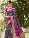 image of Art Silk Purple Festive Wear Saree With Winsome Printed Work