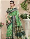 image of Creative Print Work On Designer Saree In Green Art Silk