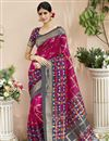 image of Marvelous Print On Art Silk Party Wear Saree In Rani Color