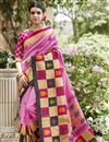 image of Classic Print Designs On Art Silk Occasion Wear Saree In Pink