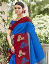 photo of Creative Print Work On Designer Saree In Art Silk Blue