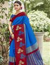 image of Creative Print Work On Designer Saree In Art Silk Blue