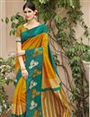 image of Marvelous Print On Mustard Party Wear Saree In Art Silk