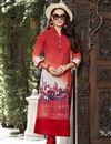 image of Office Wear Fancy Printed Readymade Kurti In Linen In Plus Size
