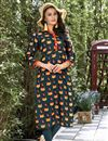 image of Printed Casual Long Readymade Kurti In Dark Grey In Plus Size