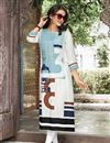 image of White Office Wear Linen Long Printed Readymade Kurti